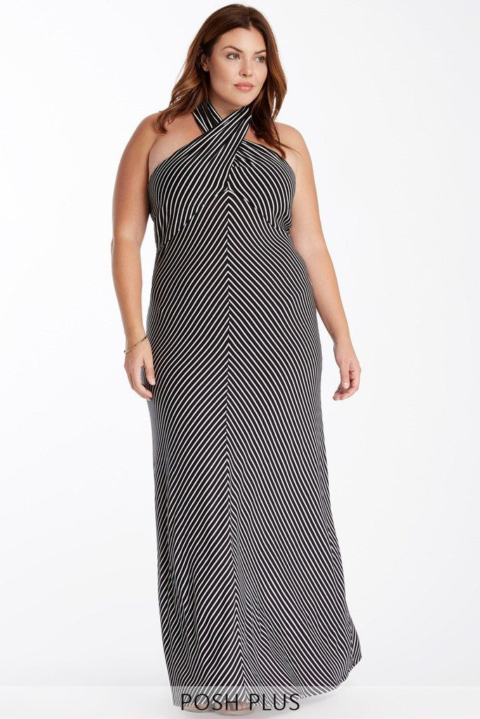 plus sized, figure flattering, striped dress